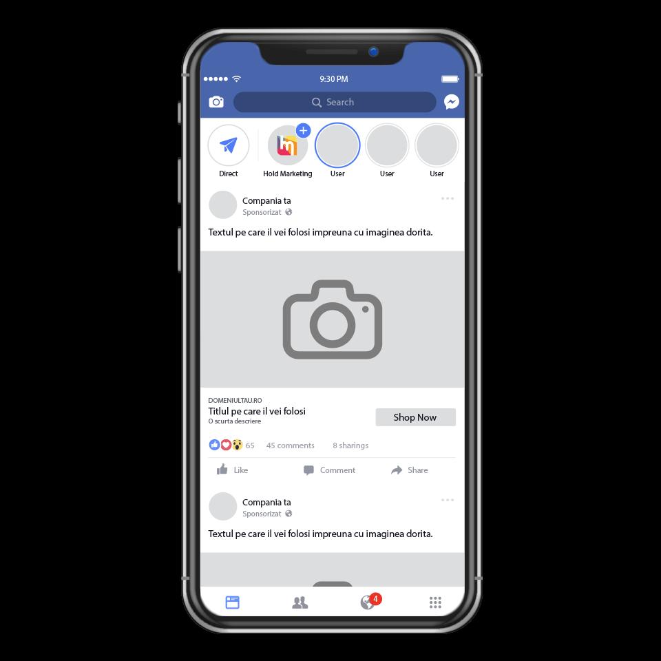 Promovare Facebook - imagine reprezentativa pentru afisarea pe mobil