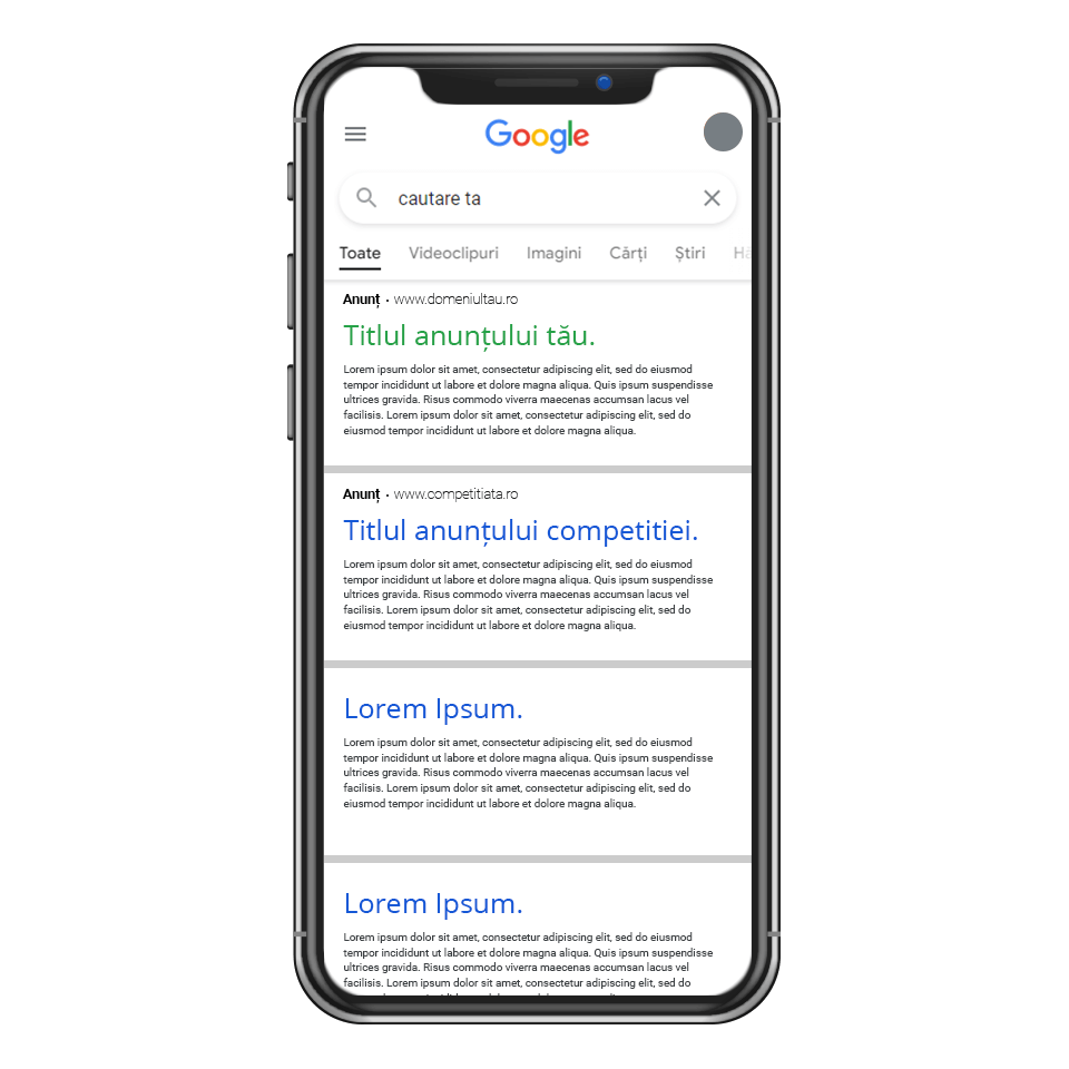 Google Ads - imagine reprezentativa mobile responsive